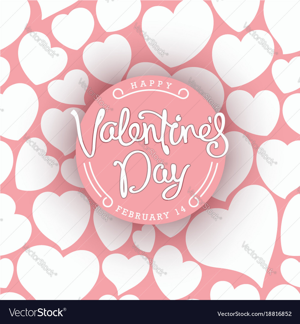 Happy Valentines Day Greetings Card Trendy Vector Image