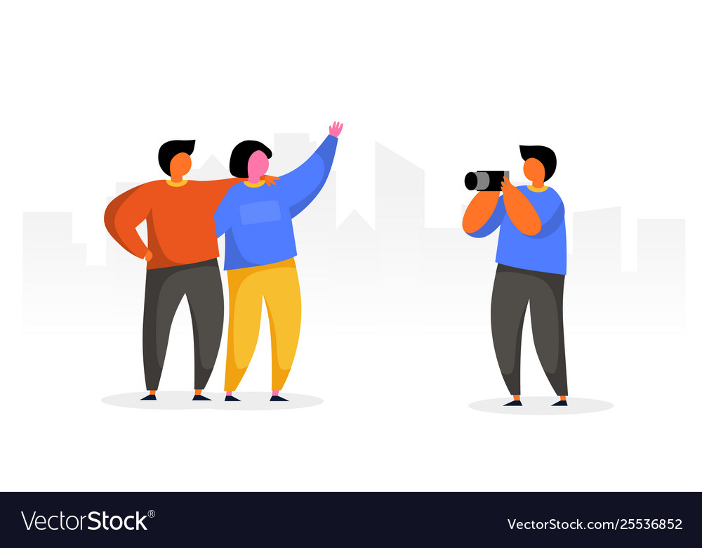 People group travel take photo with camera happy