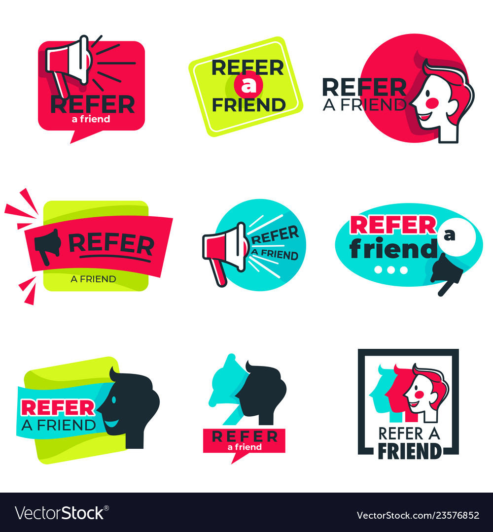 Refer friend isolated icons loudspeaker and man