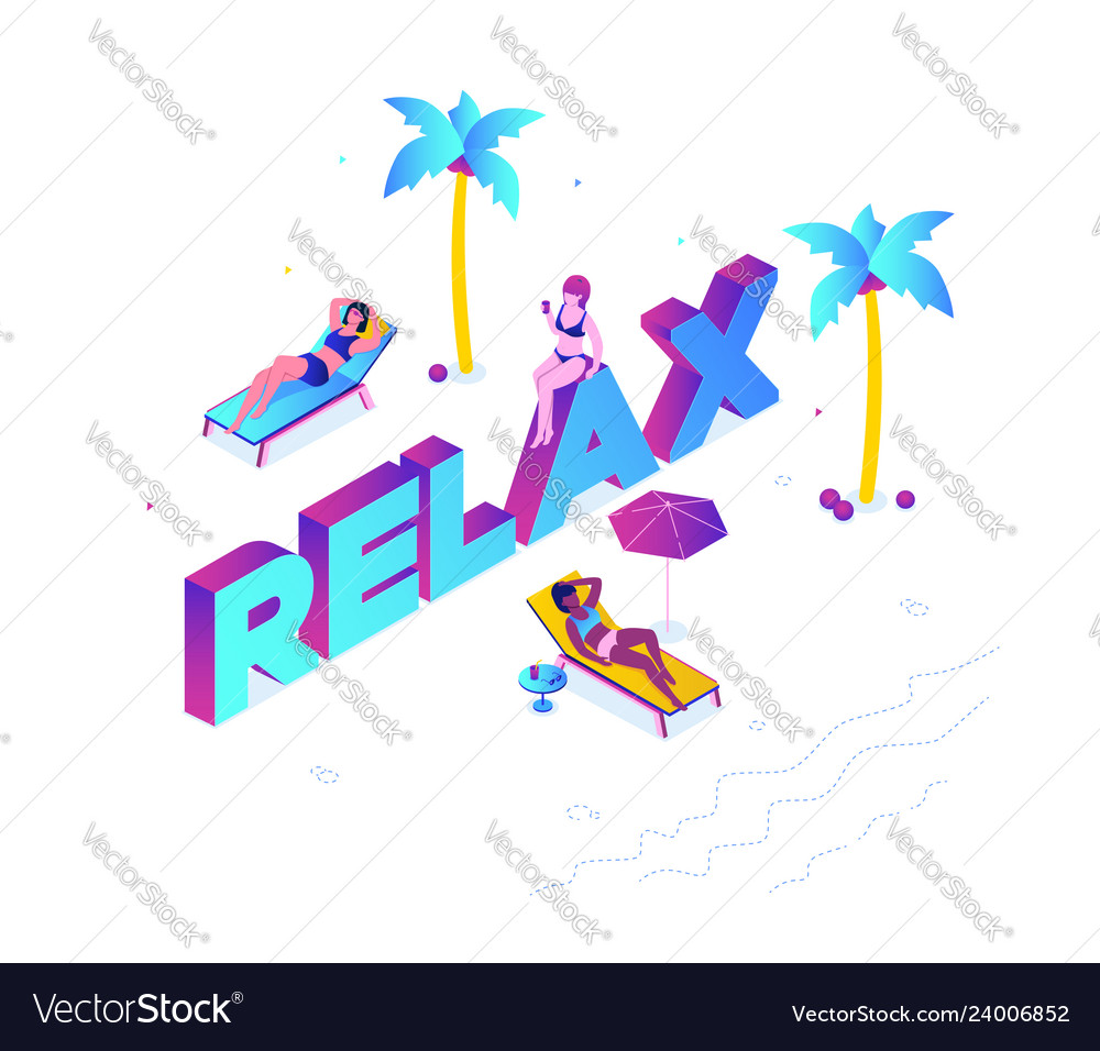 Relaxation concept - modern colorful isometric