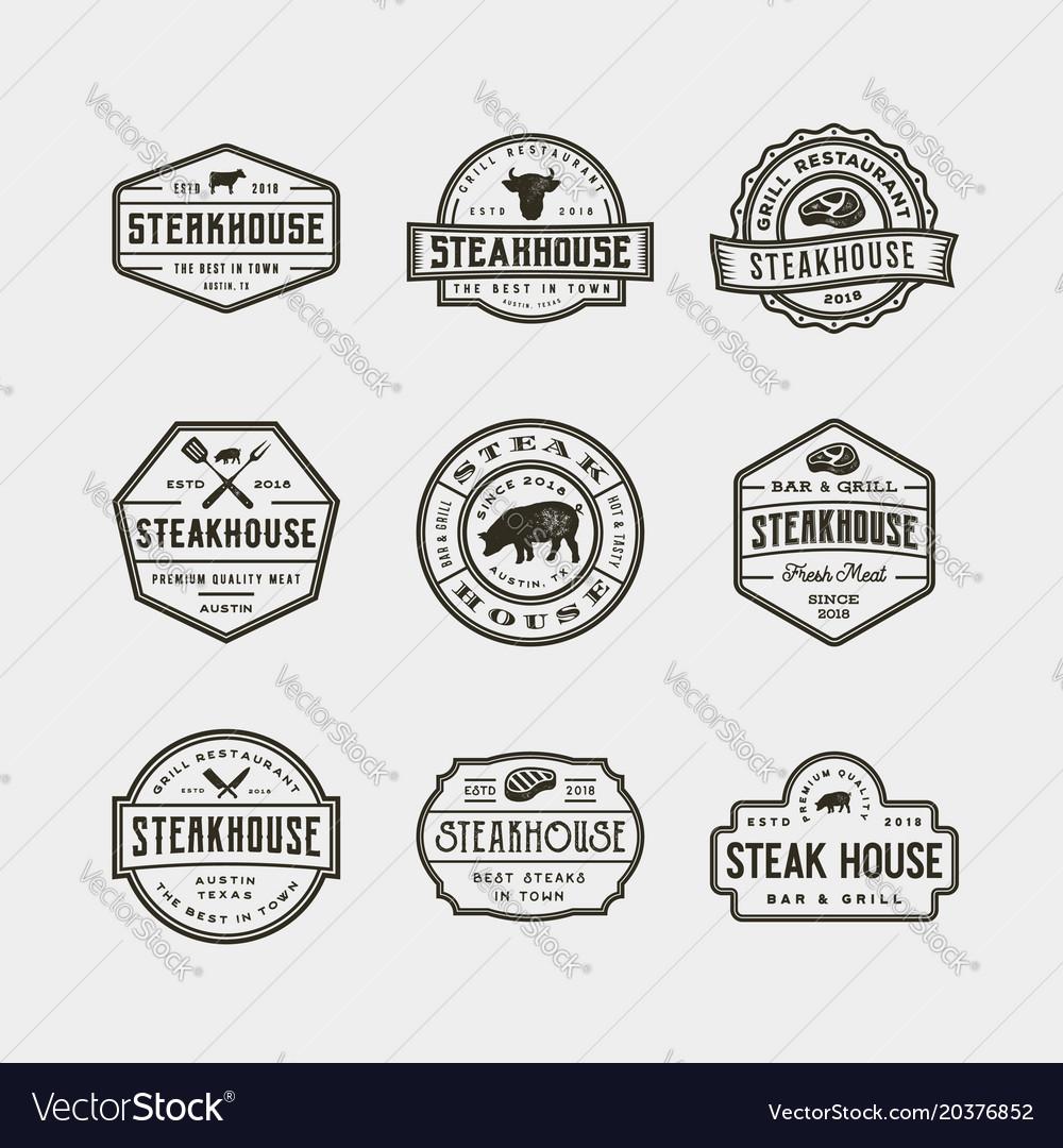 Set of vintage steak house logos