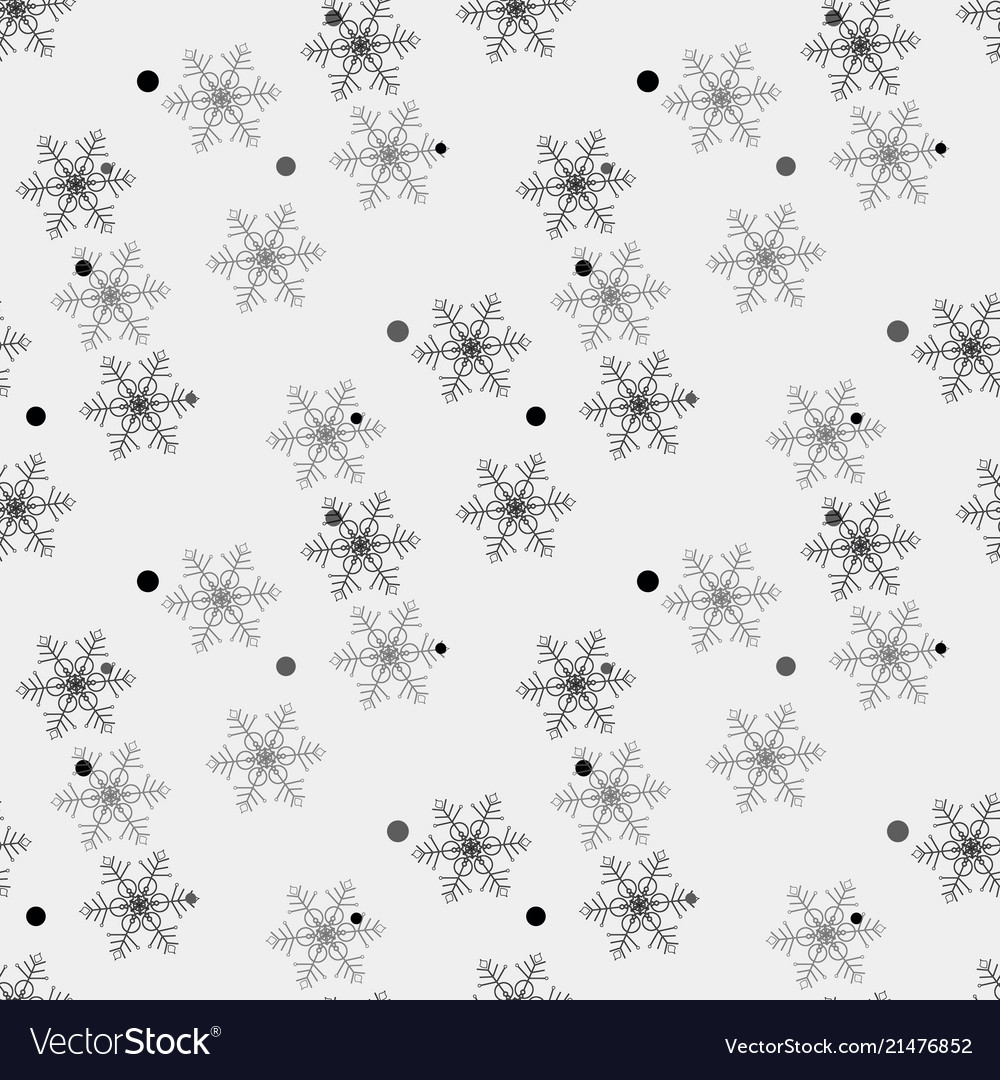 Winter snow flakes doodles black and white