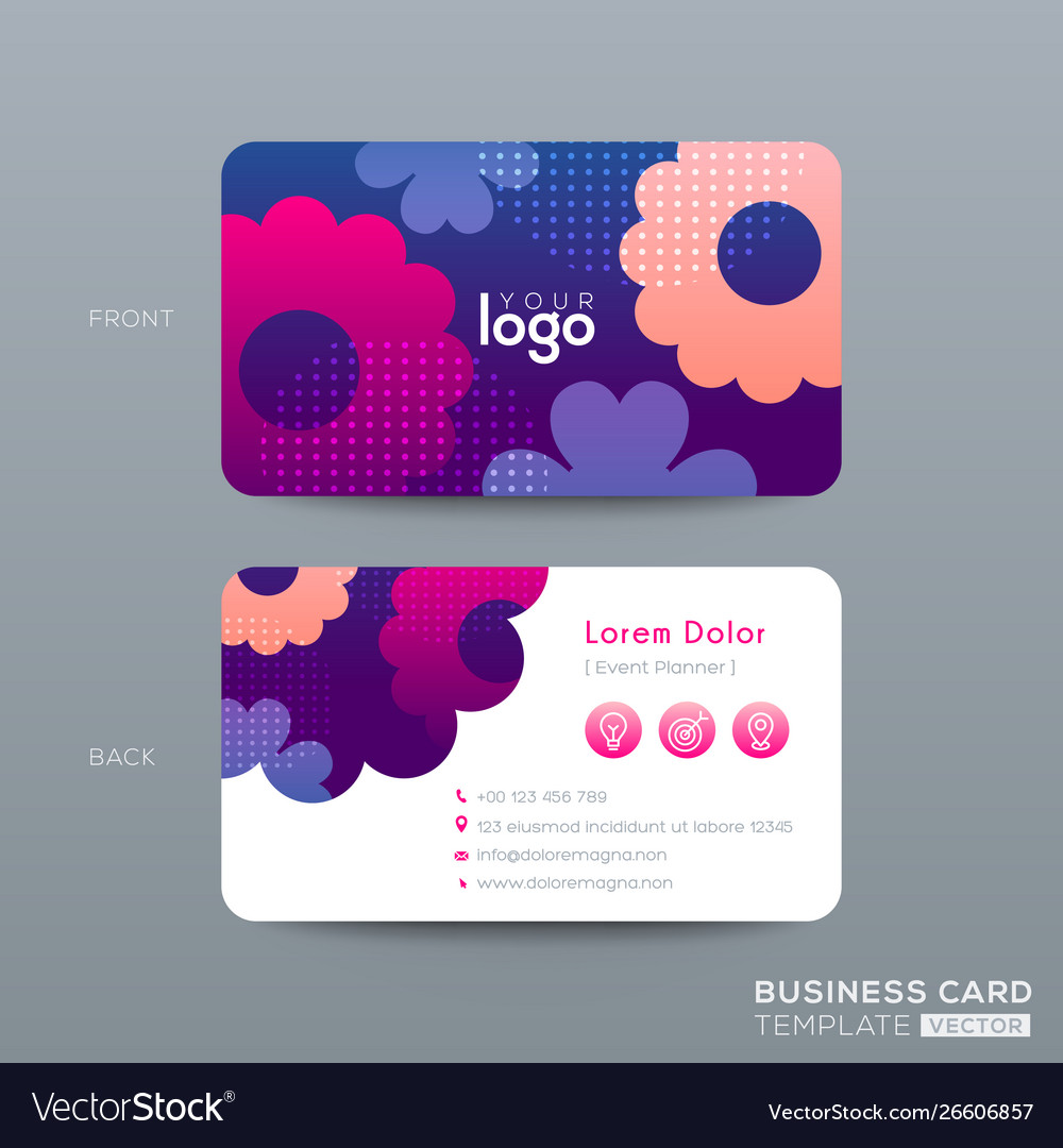 Business card design with vibrant pink blue color
