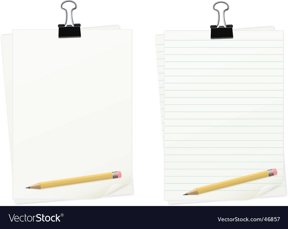 Clipped paper with pencil set
