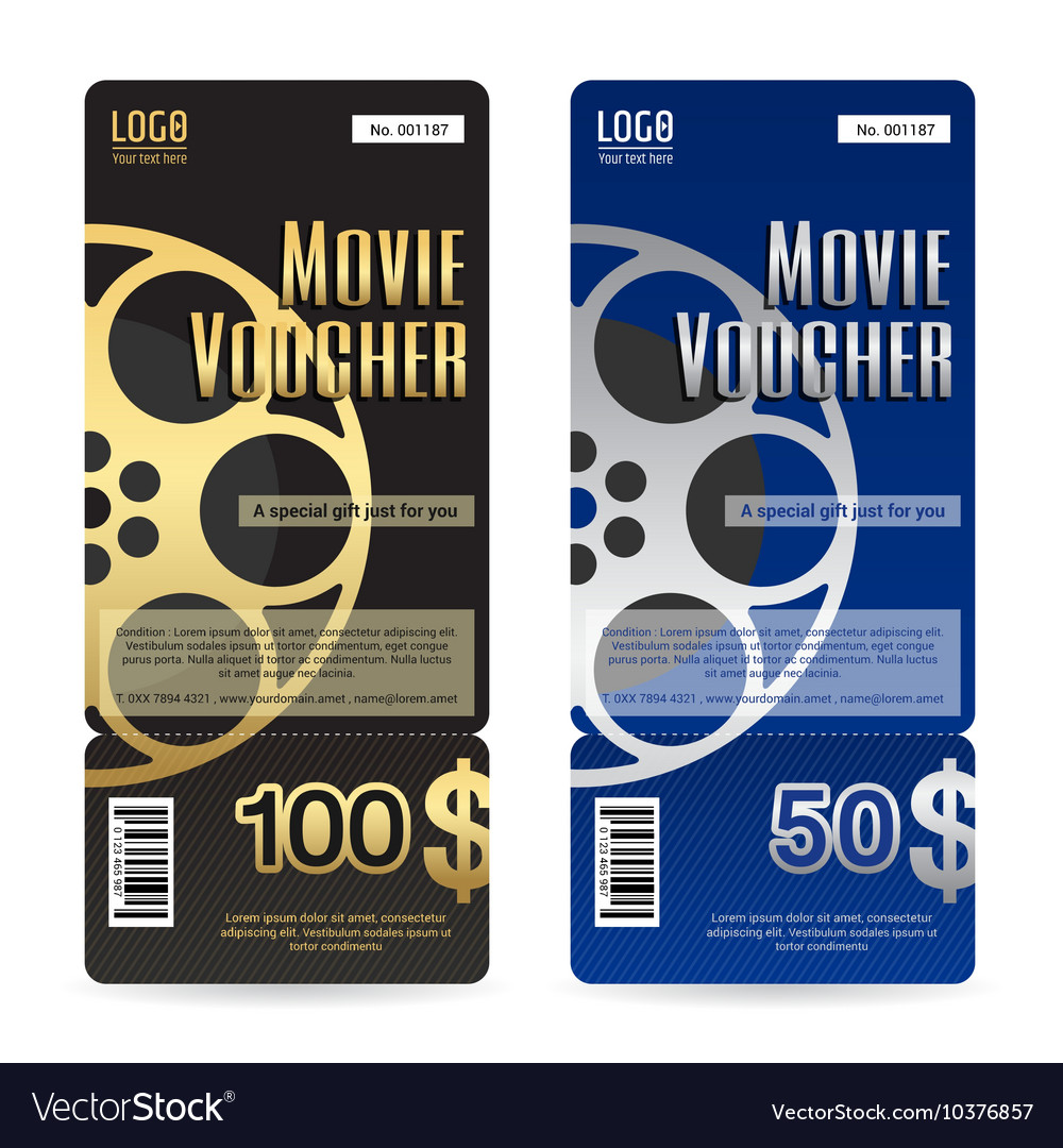 Elegant Movie Gift Voucher Or Gift Card Template Vector Image