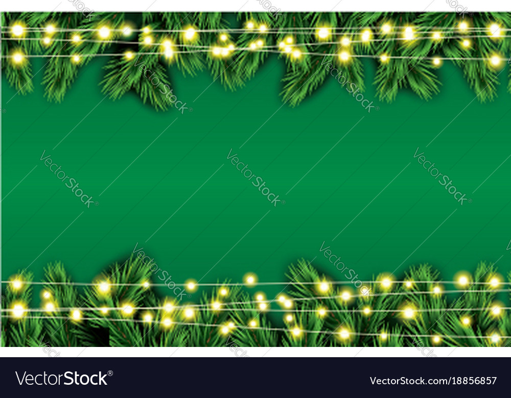 fir branch with neon lights on green background vector image