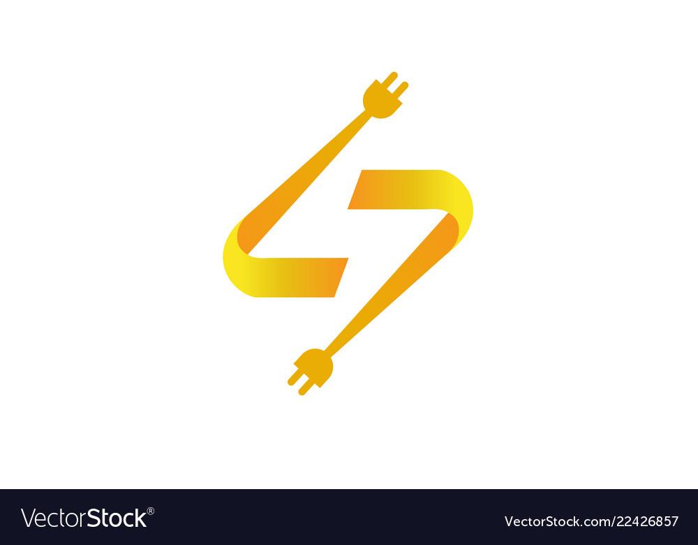 Flash Cables Thunder Symbol Logo Royalty Free Vector Image