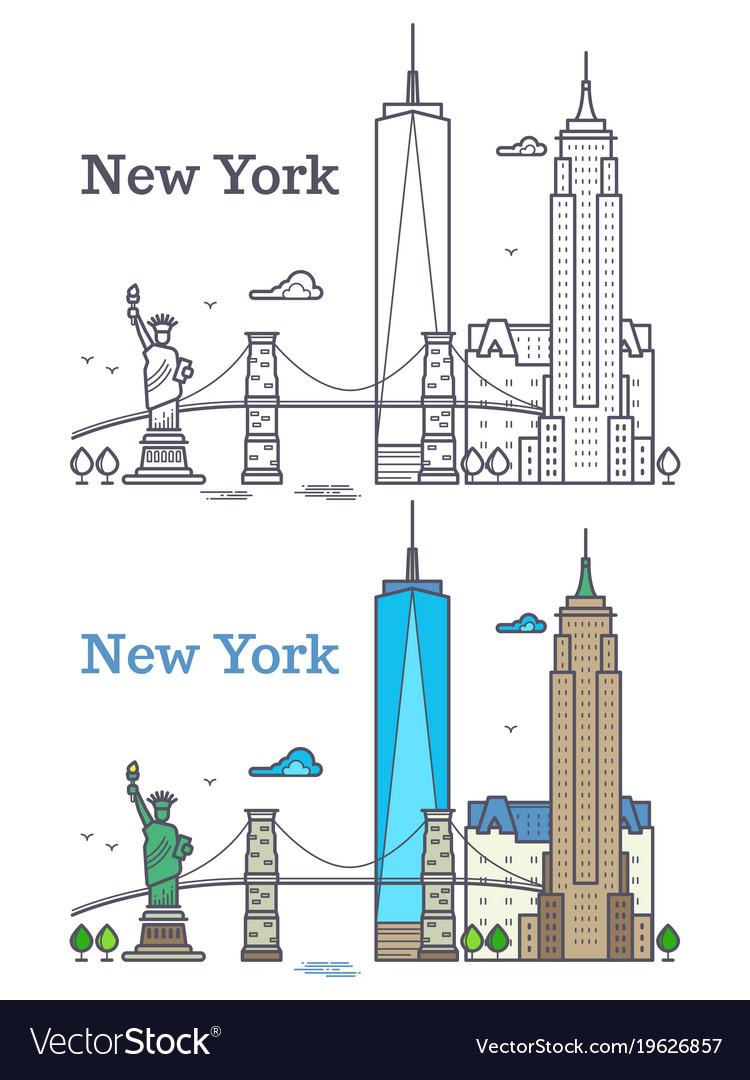 New york city outline skyline nyc line silhouette vector image