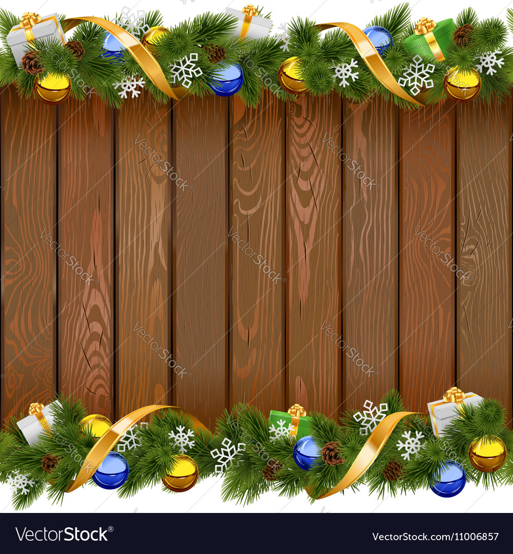 Christmas Board Design.Seamless Christmas Board With Golden Ribbon