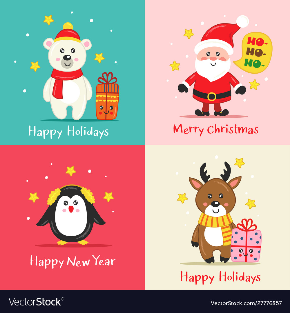 Set christmas cards with cute characters