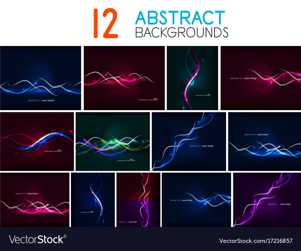 Set of glowing wave lines abstract backgrounds vector image