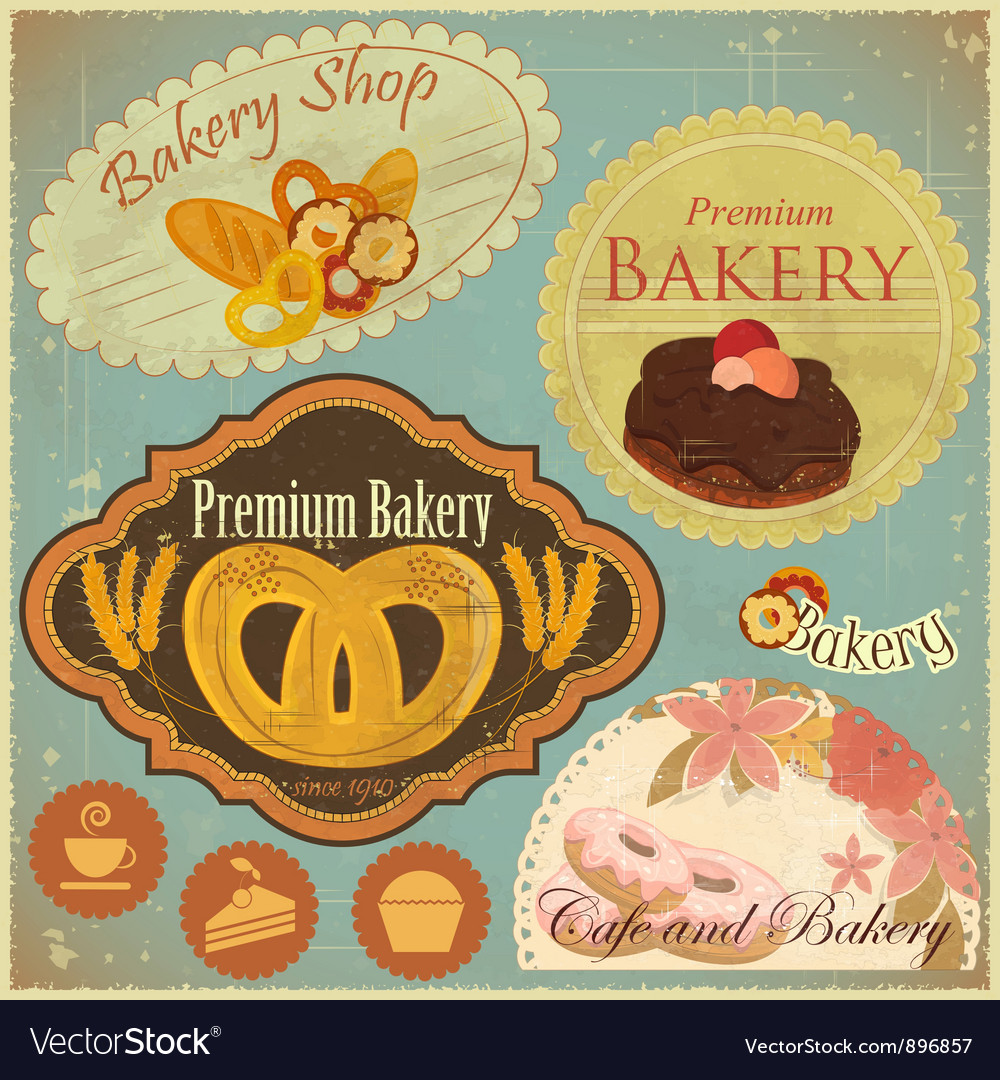 Set of Vintage Bakery and Cafe Labels vector image