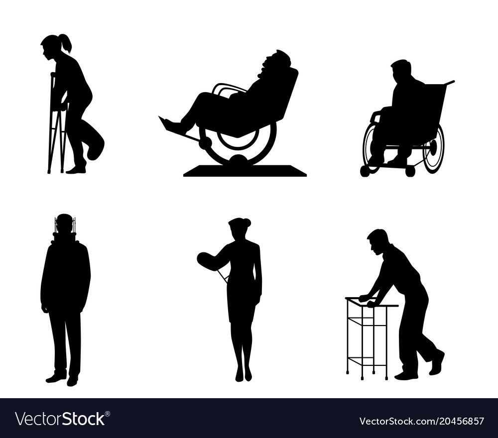 Silhouettes of sick people