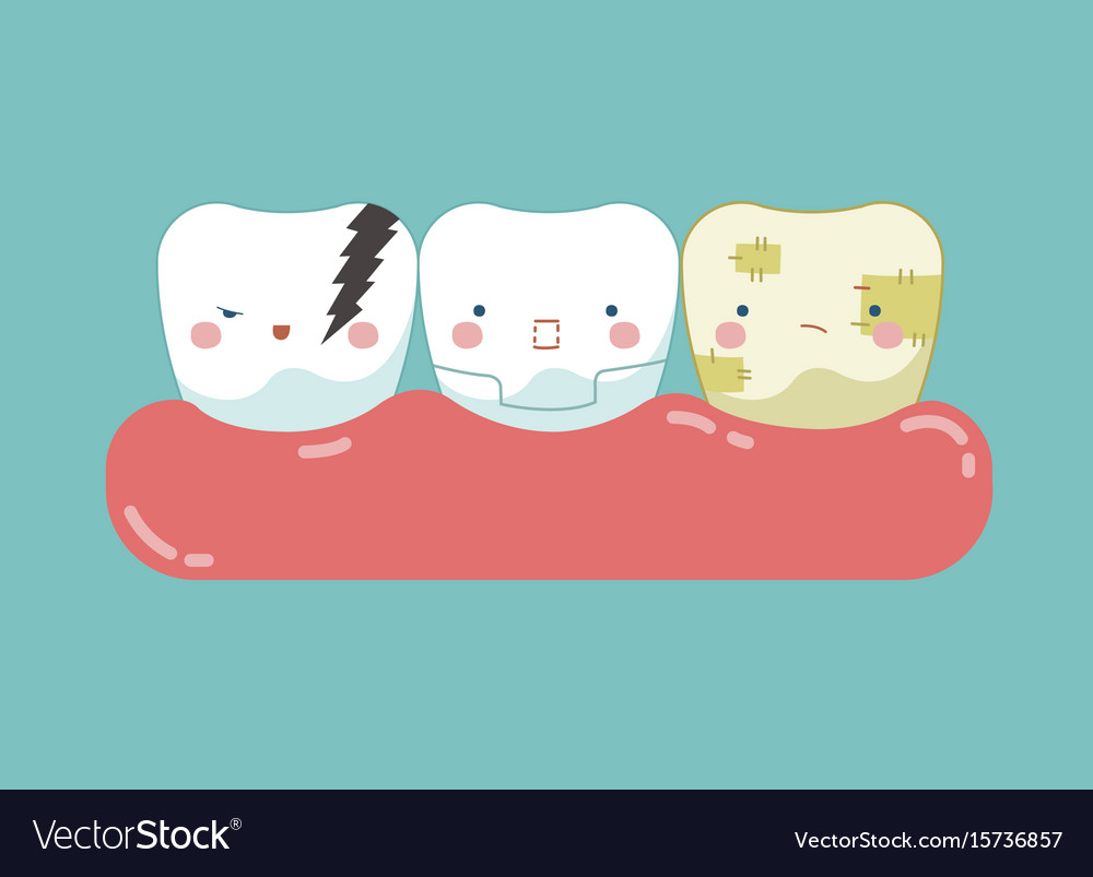 Symptom of dental teeth and tooth concept of dent vector image