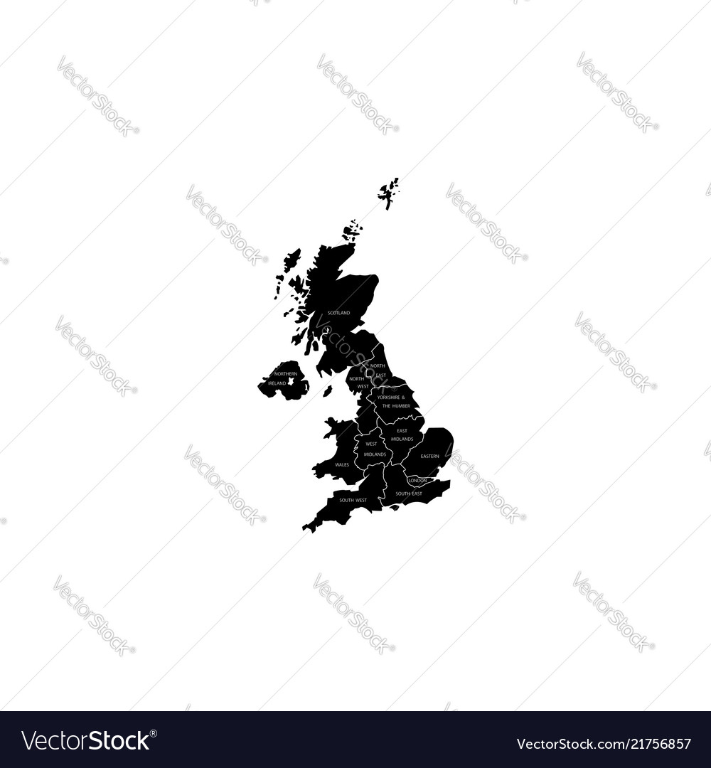 Map Of Uk With Regions.United Kingdom Uk Regions Map Black On White
