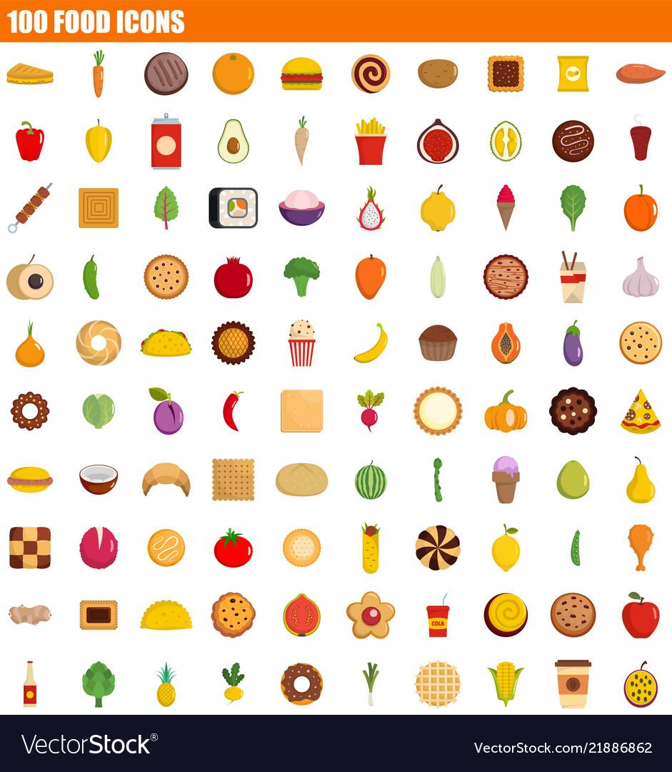 100 food icon set flat style