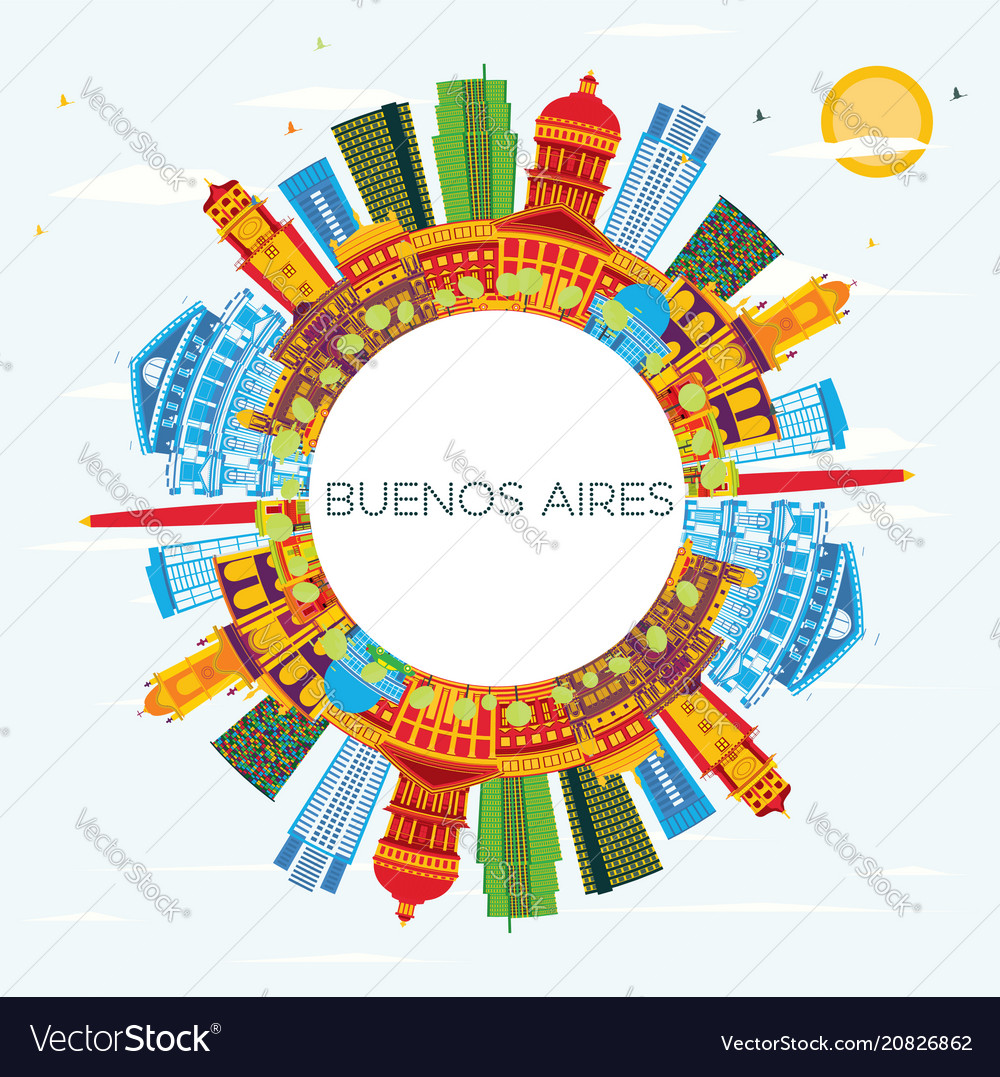 Buenos aires skyline with color landmarks blue