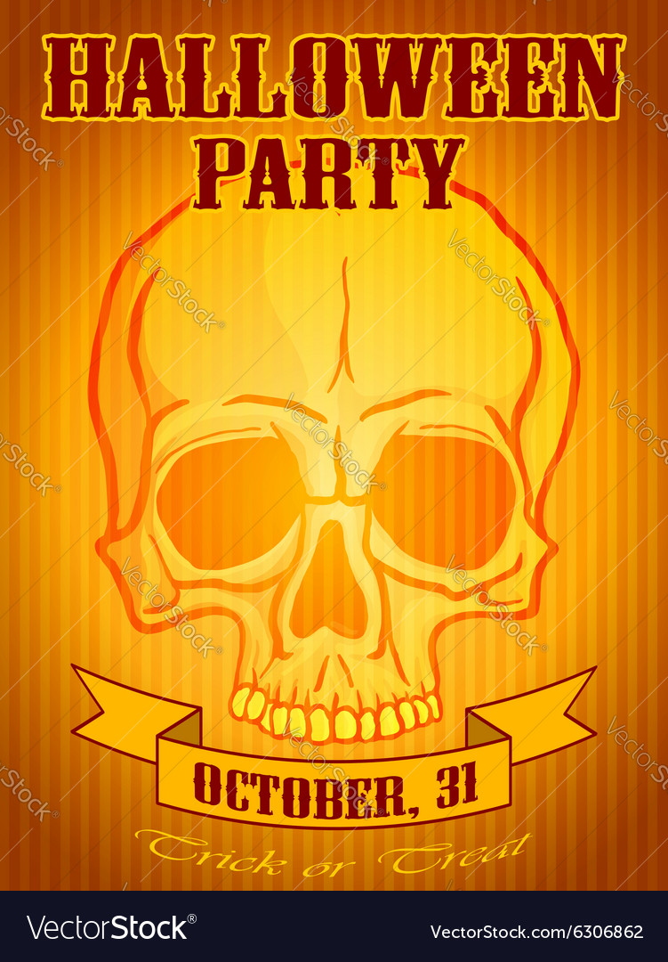 Halloween Party Background with Human Skull