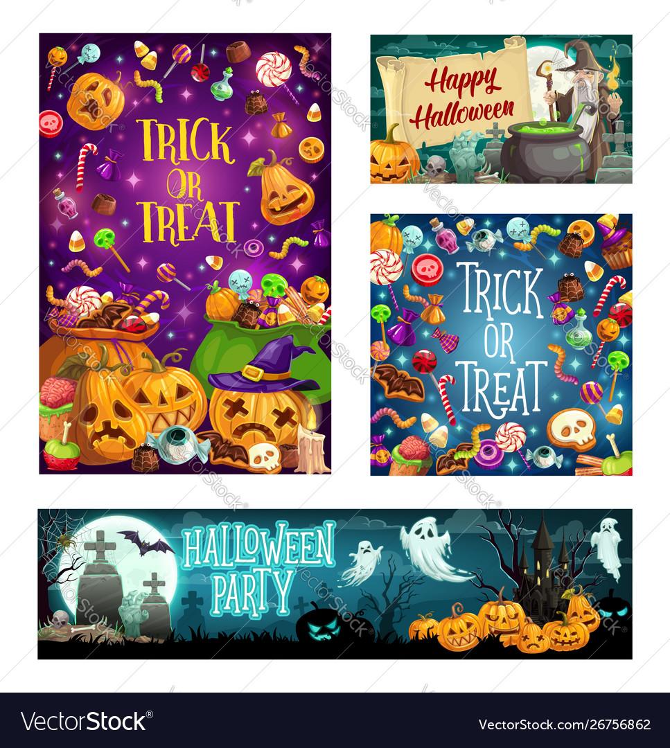 Halloween trick or treat party cartoon celebration
