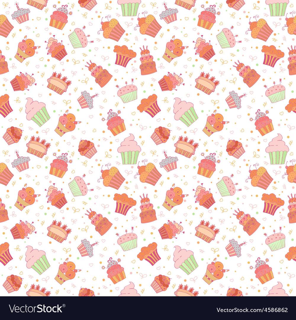 Hand drawn seamless pattern with cupcakes Birthday