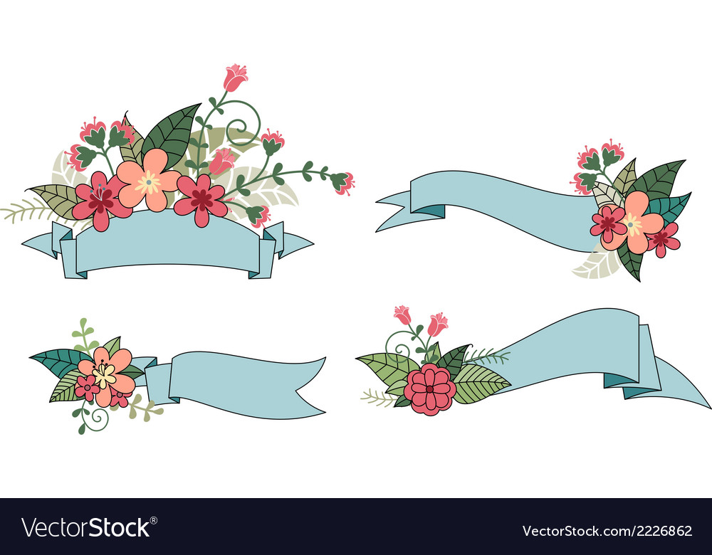 Set of ribbon with flower