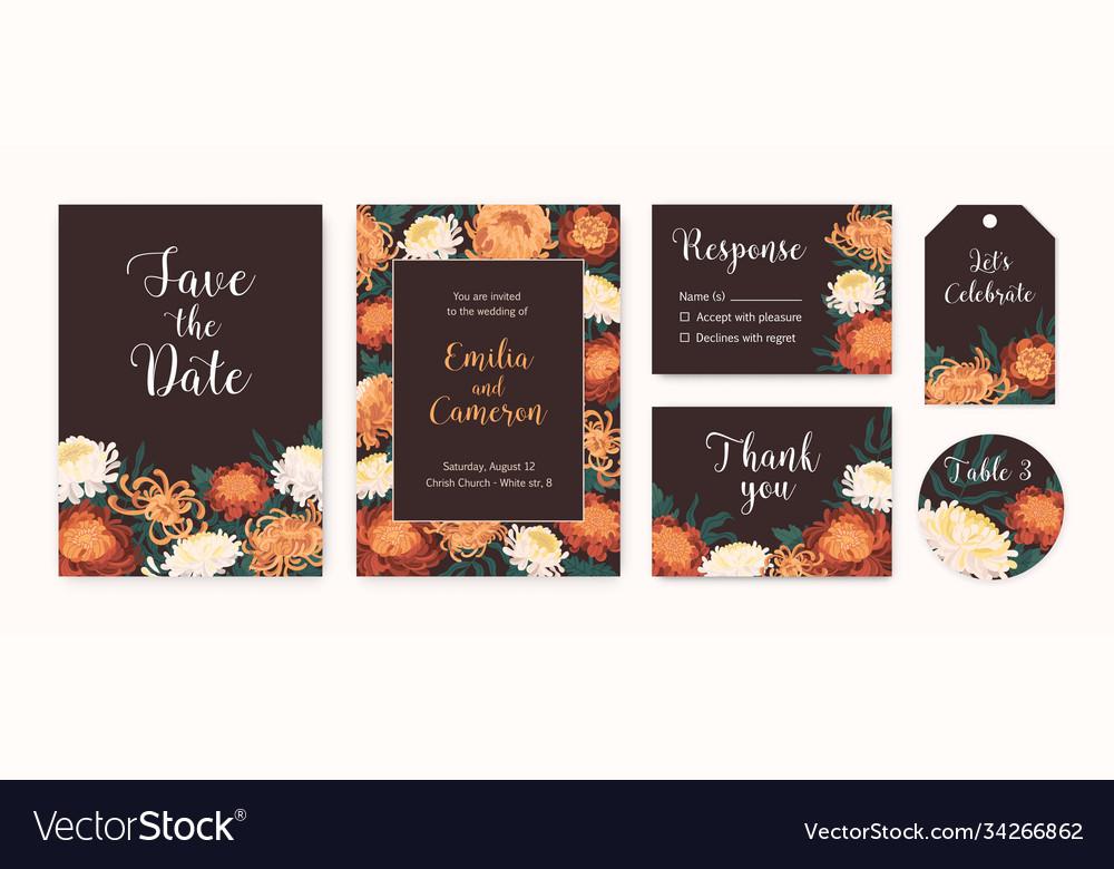 Set wedding invitation cards with autumn