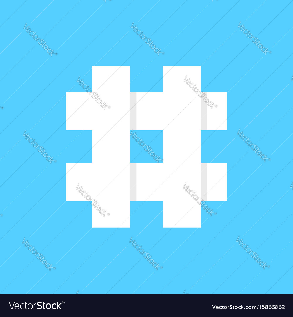 White hashtag icon on blue background