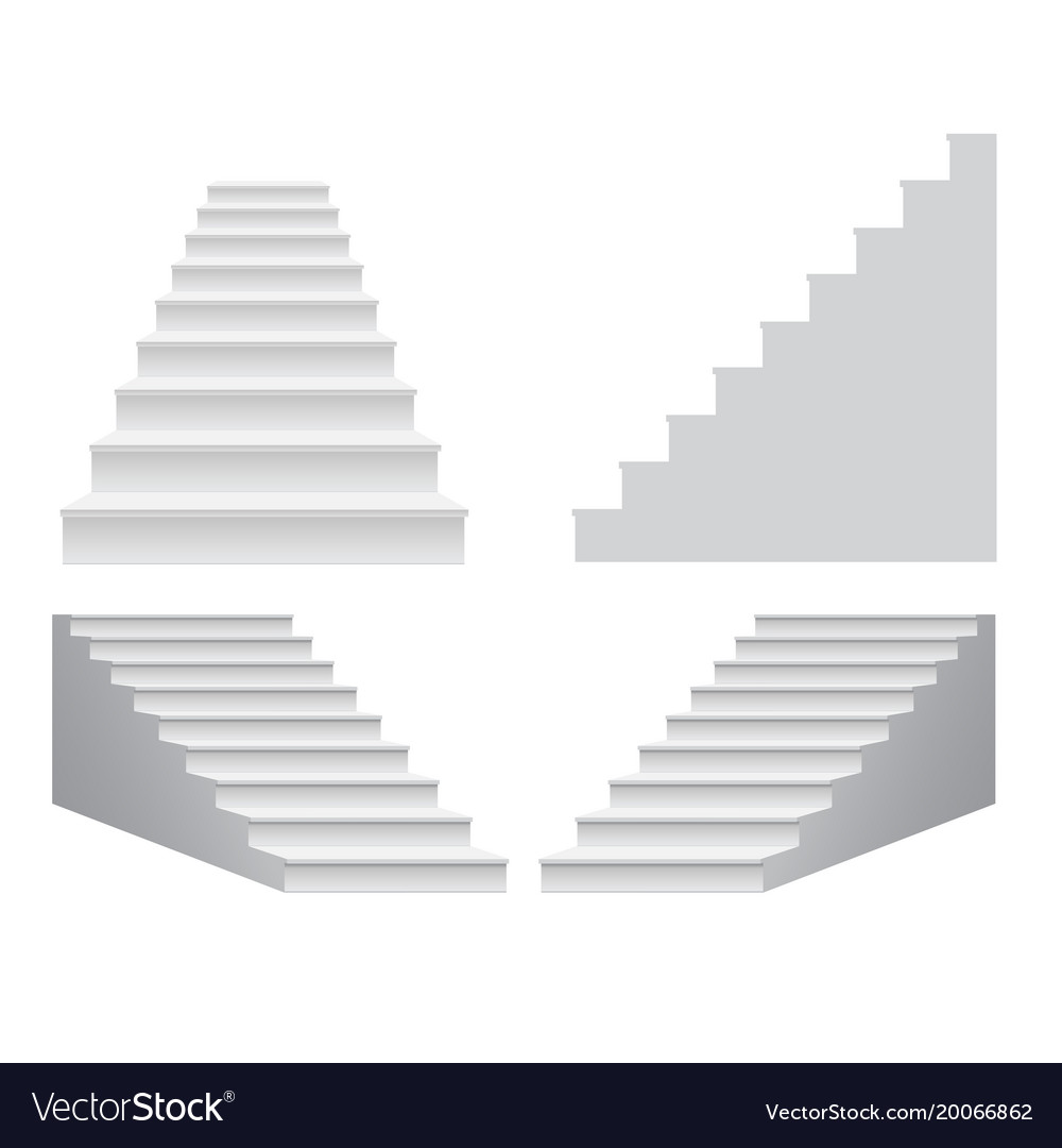white stair template front view 3d isolated vector image