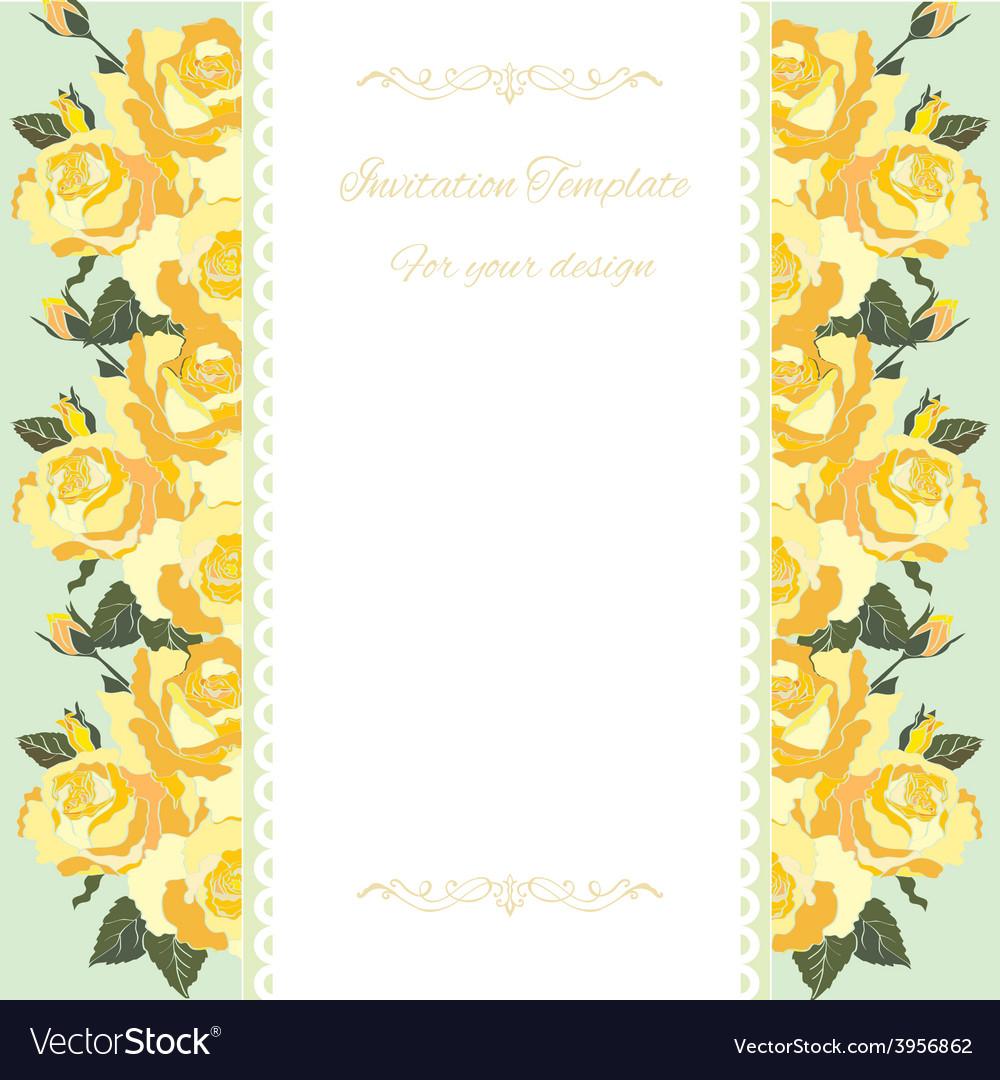 Yellow rose border floral card royalty free vector image yellow rose border floral card vector image stopboris Images