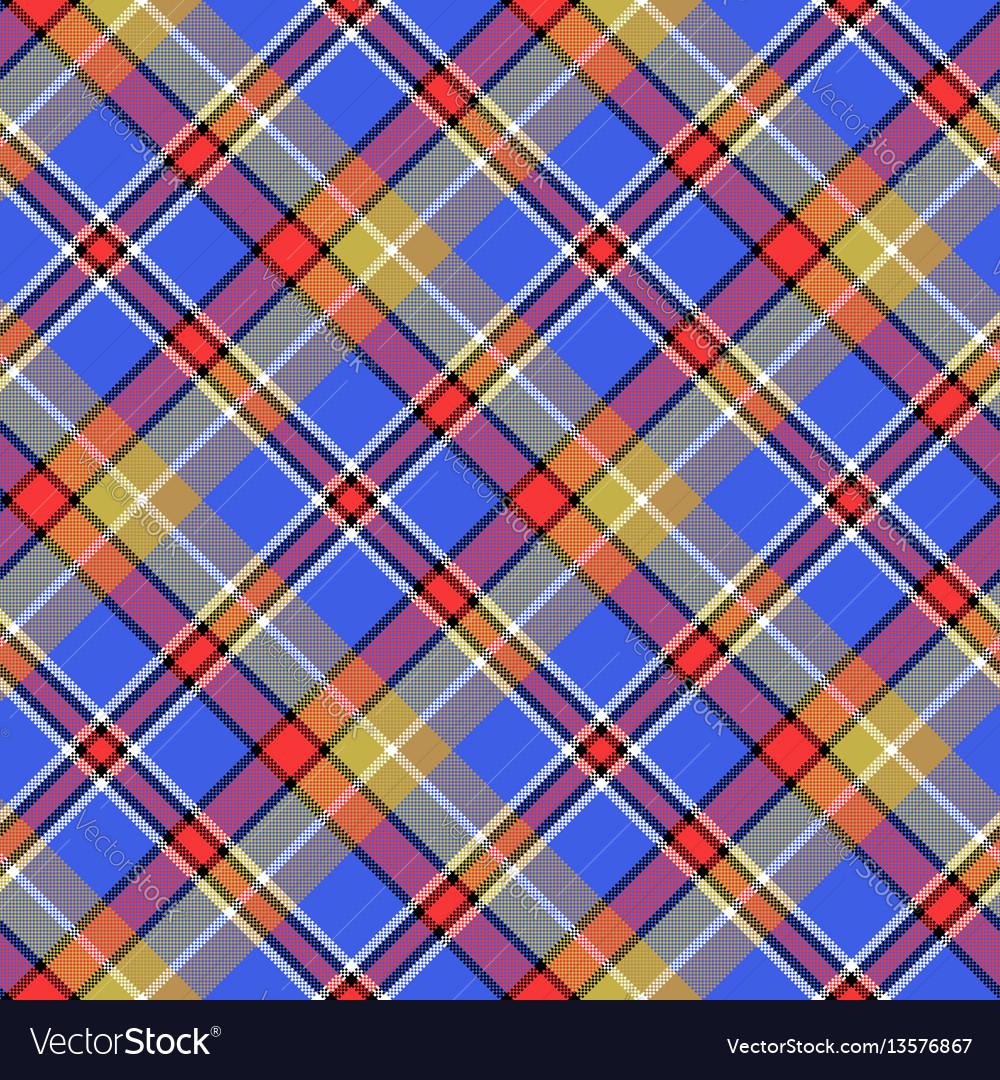 Blue madras diagonal plaid pixeled seamless