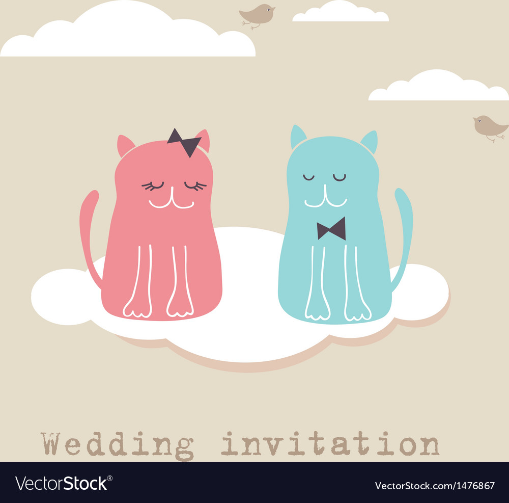 Bridal Shower Invitation Card With Two Cute Cats