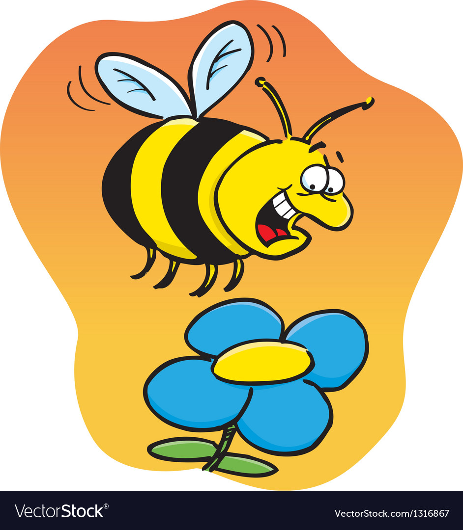 Cartoon Bee With A Flower Royalty Free Vector Image