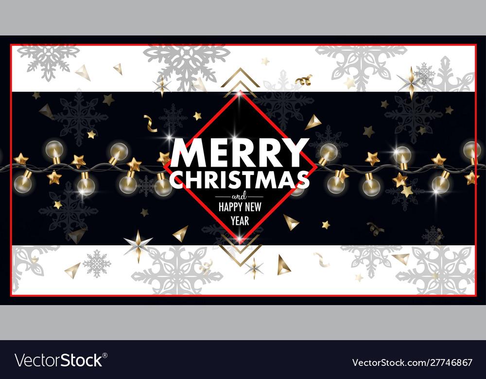 Christmas banner or postcard with light bulbs