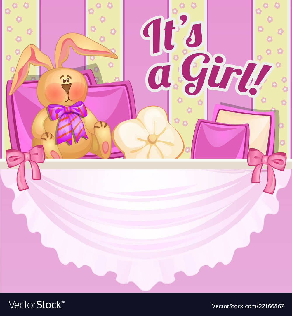 Cute poster with a soft toy and pillows in the