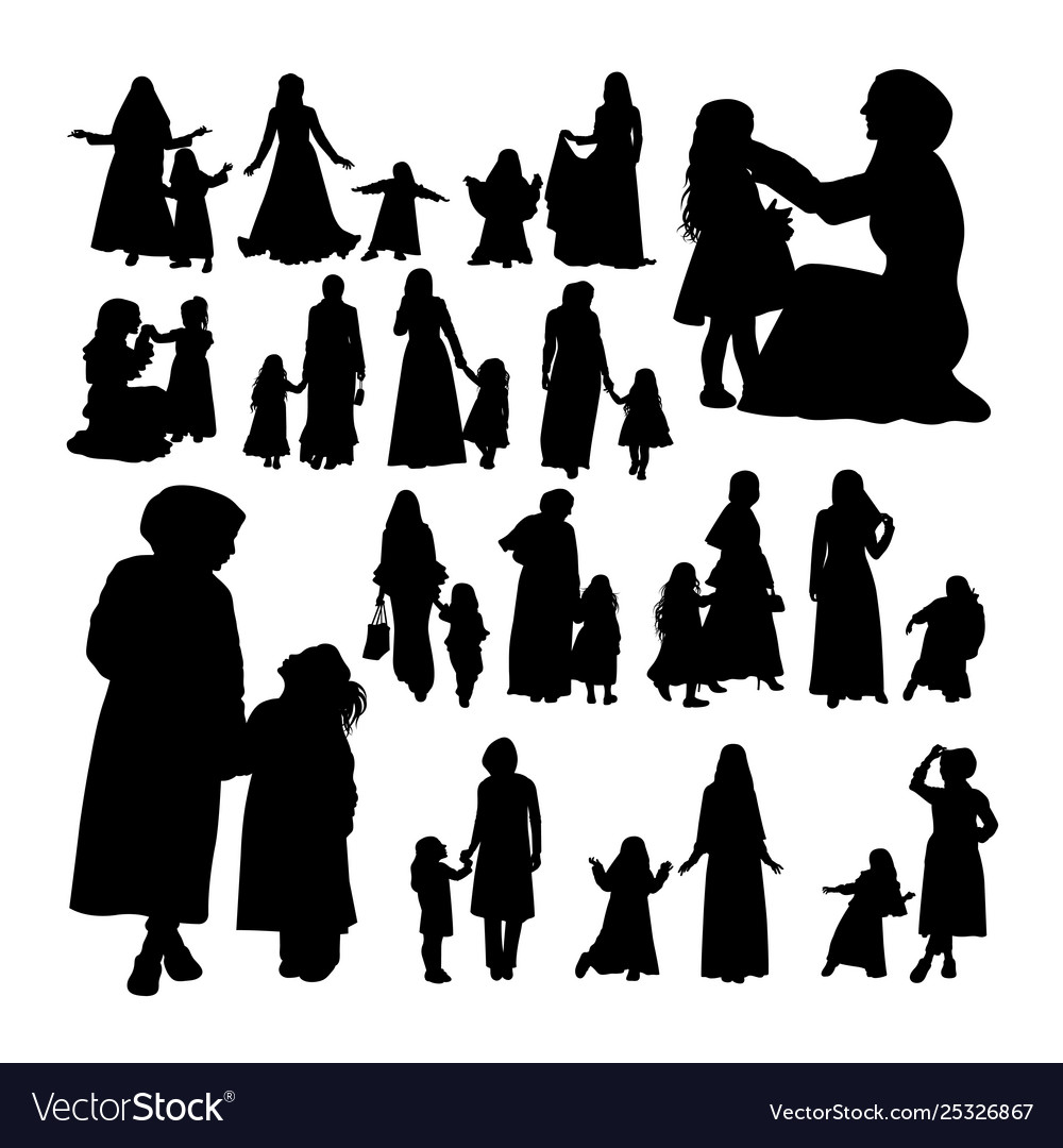 Muslim mother and child silhouettes