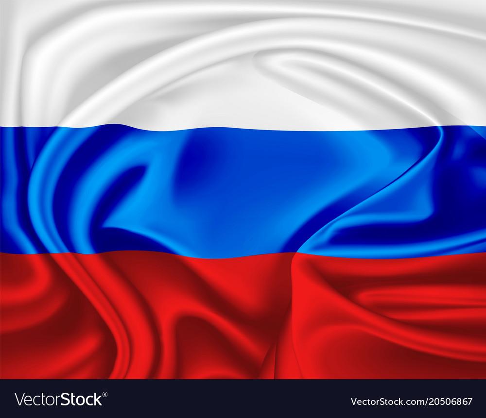 Realistic russian flag symbol satin drape