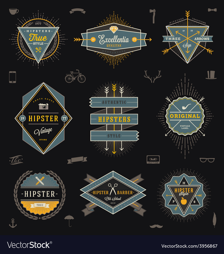 Set hipster trendy emblems labels and sign vector