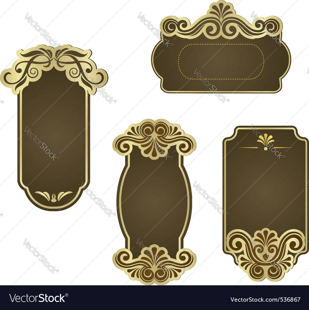 Set of retro frames for wedding templates Vector Image