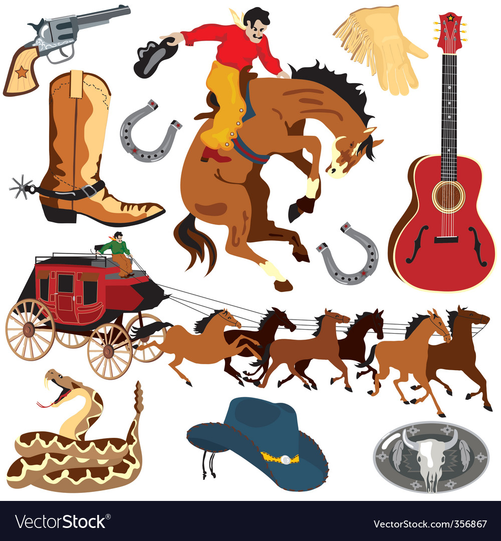 wild west clipart icons royalty free vector image rh vectorstock com free printable wild west clipart Old West Illustrations