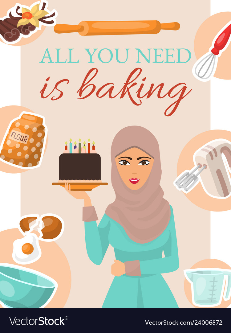Baking concept poster banner woman holding