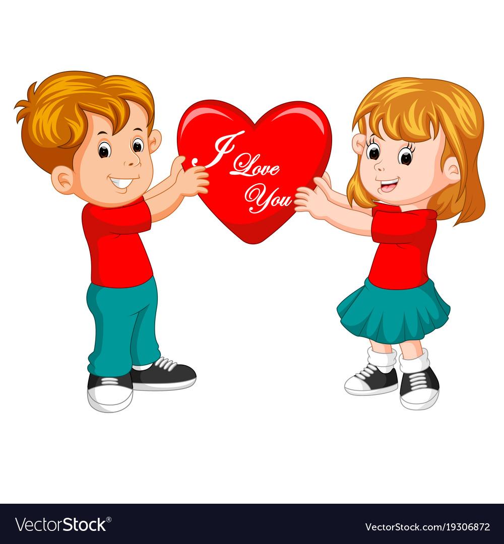 Cartoon Couple In Love Holding Heart Royalty Free Vector