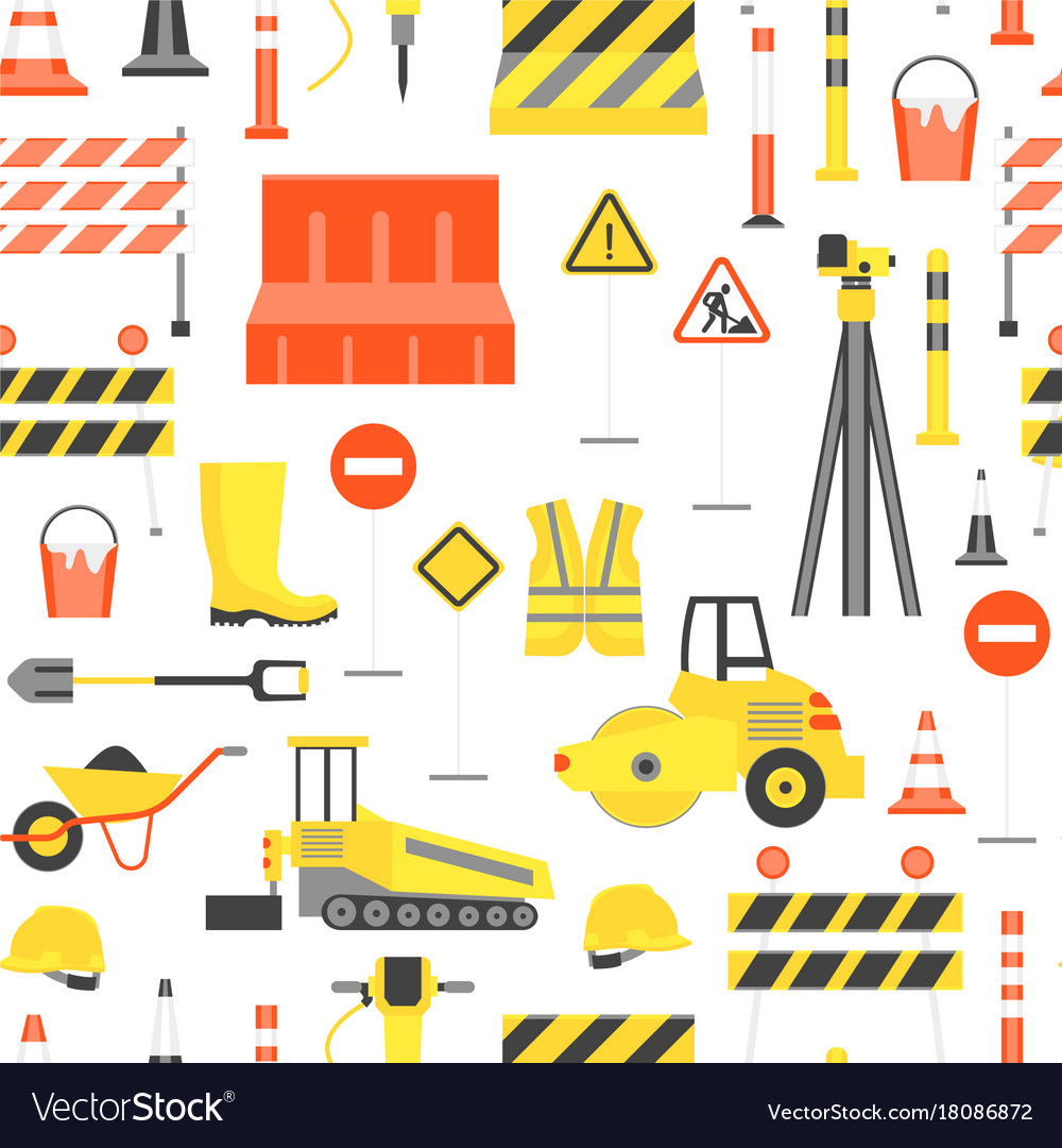 Cartoon road construction background pattern on a