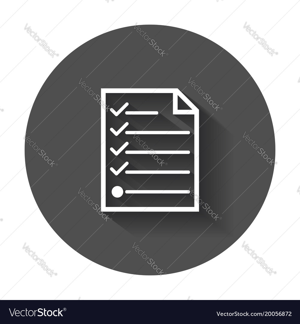 Hecklist icon flat with long shadow vector image