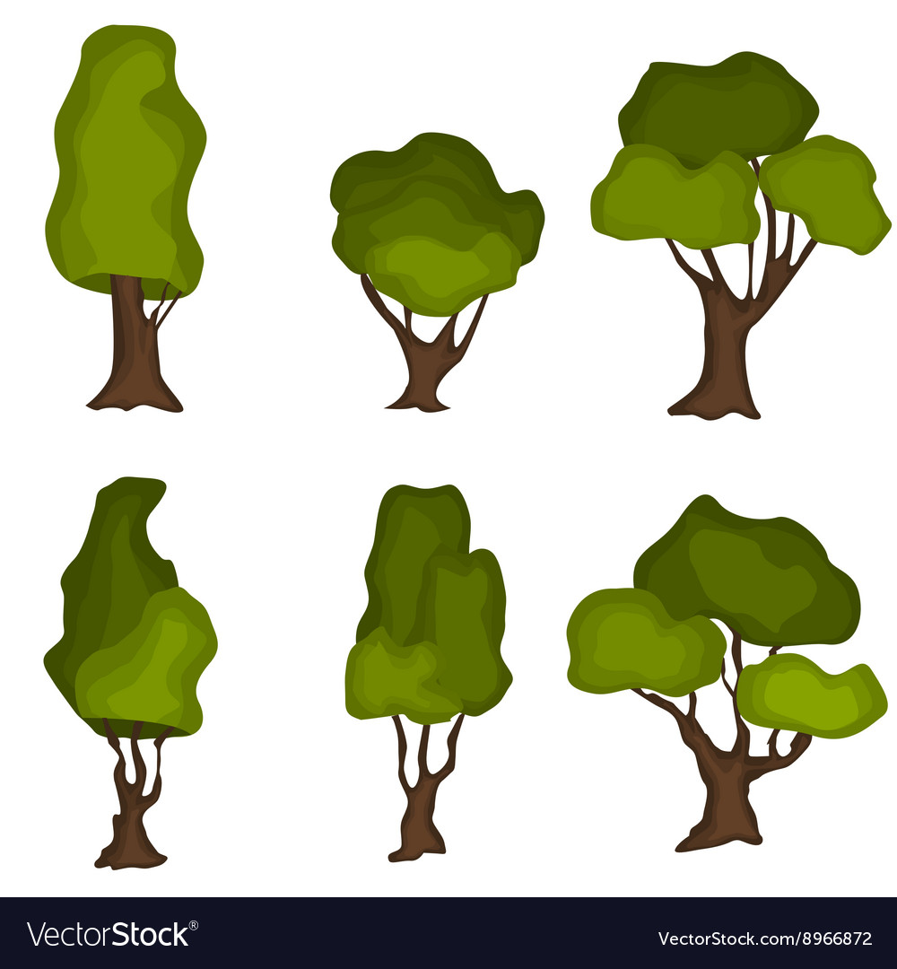 Set of abstract stylized trees Natural trees vector image