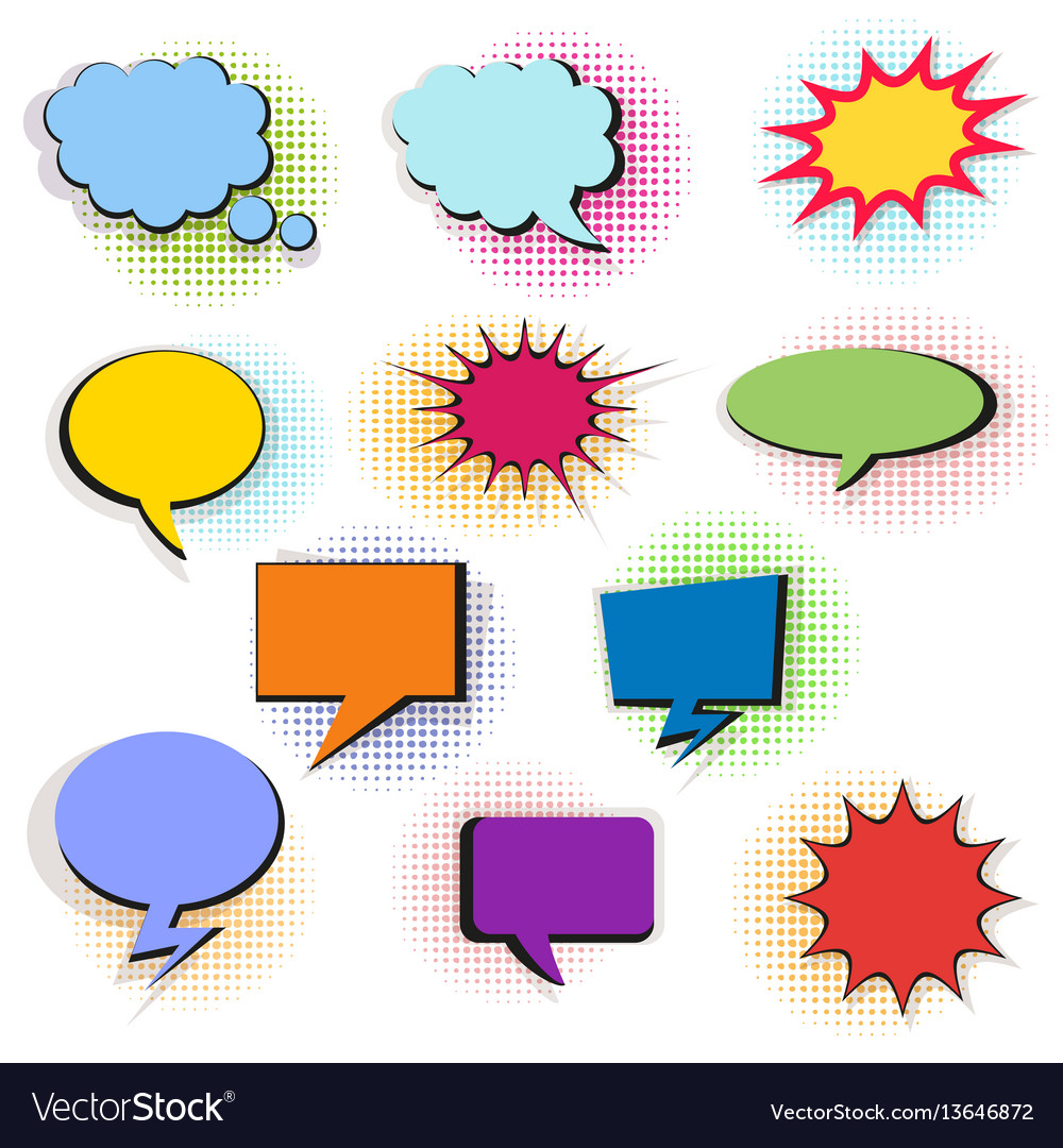 Set of colorful comic bubbles and elements with