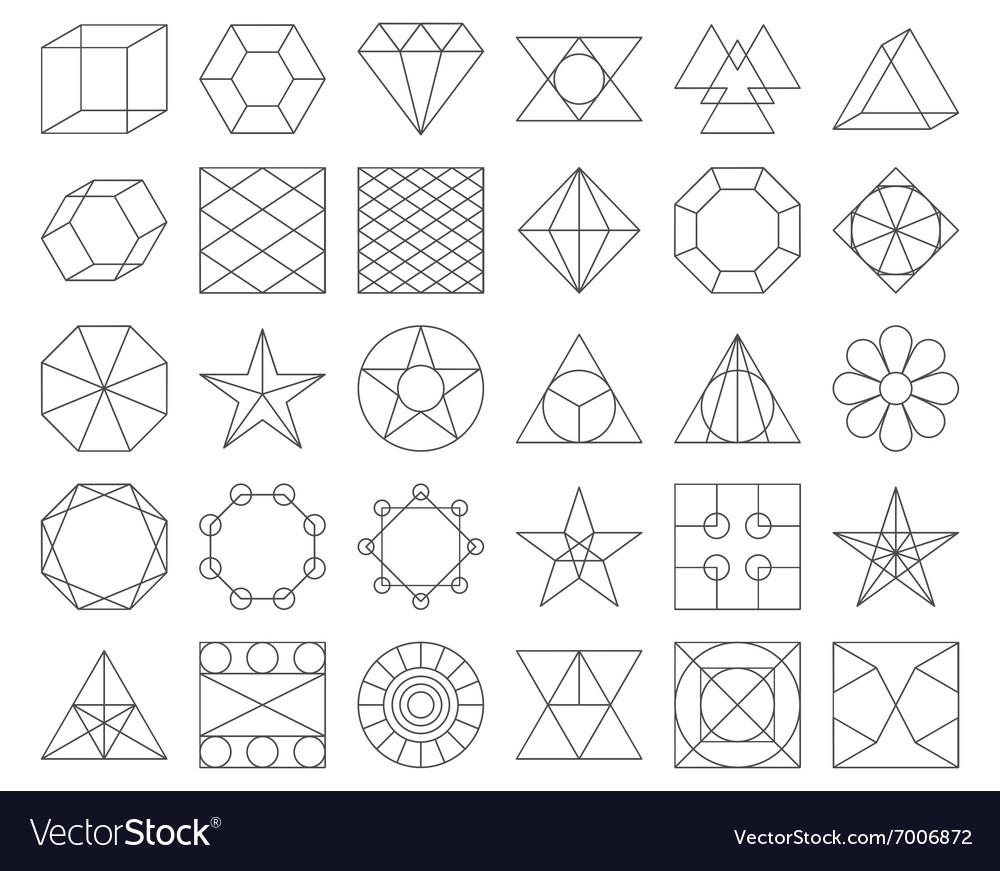 Set of trendy geometric icons vector image