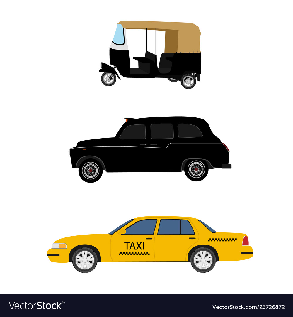 Taxi cab icon set yellow taxi london cab and