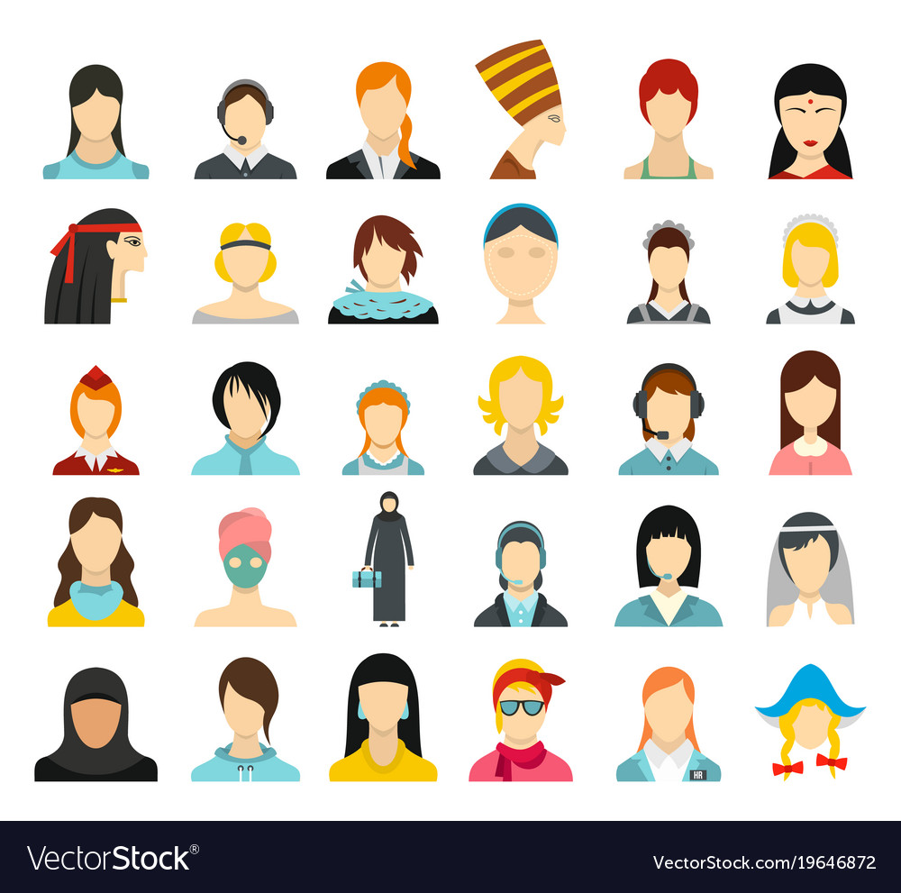 Woman avatar icon set flat style