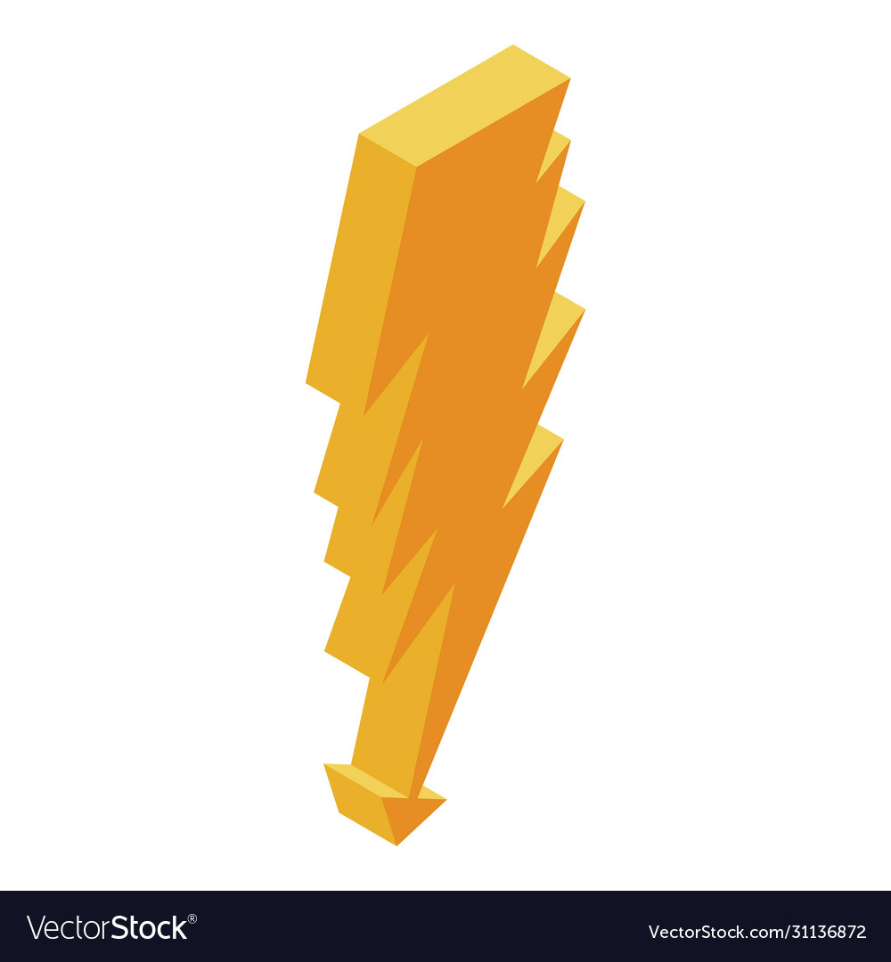 Yellow Power Bolt Icon Isometric Style Royalty Free Vector