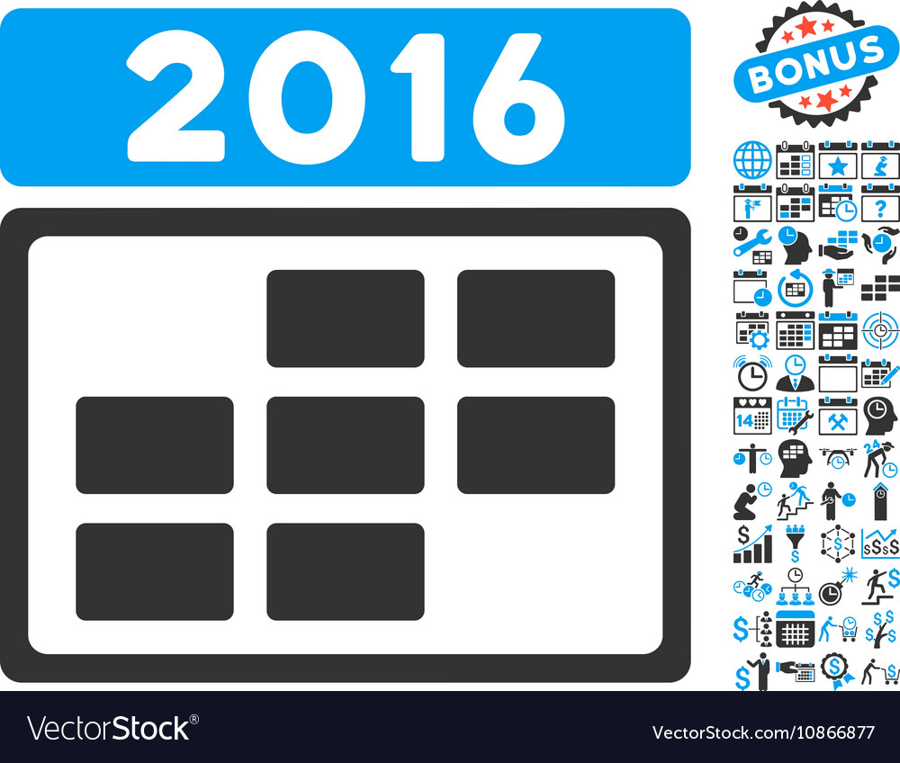 2016 Calendar Grid Flat Icon With Bonus